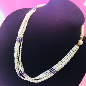 Vintage freshwater pearls with amethyst necklace